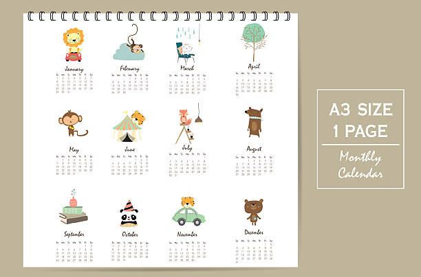 colorful cute monthly calendar 2017 with lion,tiger,panda,tree - 動物のカレンダー点のイラスト素材/クリップアート素材/マンガ素材/アイコン素材