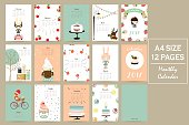 Colorful cute monthly calendar 2017 with rabbit,cherry,bear,fox,cake,girl and gift.Can be used for web,banner,poster,label and printable