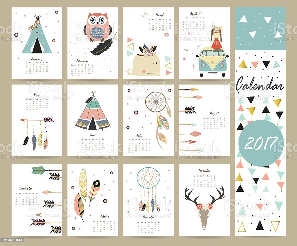 colorful cute monthly calendar 2017 with tentwhalefeather stock