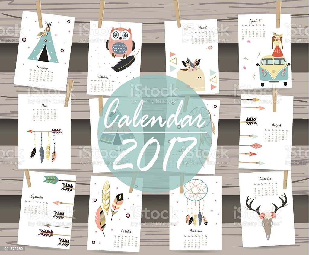 colorful cute monthly calendar 2017 with tentwhalefeather 2017年の