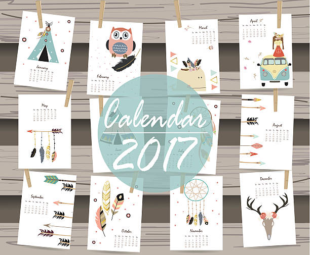 ilustraciones, imágenes clip art, dibujos animados e iconos de stock de colorful cute monthly calendar 2017 with tent,whale,feather - calendario de animales