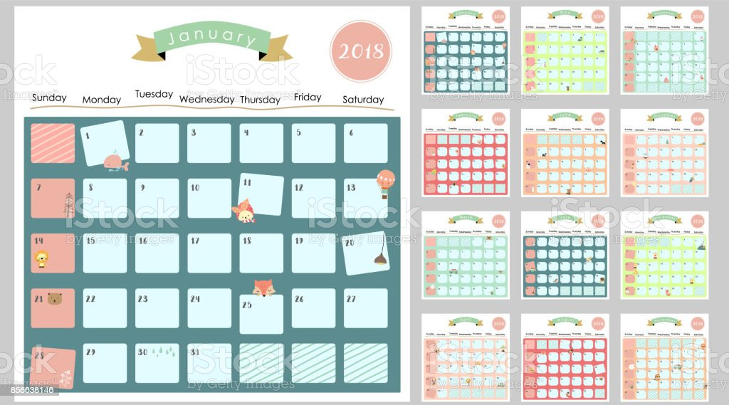 Bunte Süße Monatskalender 2018 mit Eichhörnchen, Ente, Rentier, Nilpferd, Giraffe, Katze, Löwe und Bär. Kann zum ausdrucken und für Web, Banner, Poster, Aufkleber verwendet werden – Vektorgrafik