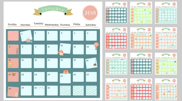 colorful cute monthly calendar 2018 with squirrel,duck,reindeer,hippopotamus,giraffe,cat,lion and bear.can be used for web,banner,poster,label and printable - animals calendar stock illustrations, clip art, cartoons, & icons