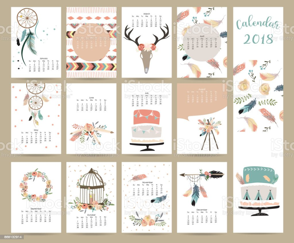 Colorful cute monthly calendar 2018 with wild,fox,bear,skunk,leaf,stump,flower,penguin and porcupine.Can be used for web,banner,poster,label and printable vector art illustration
