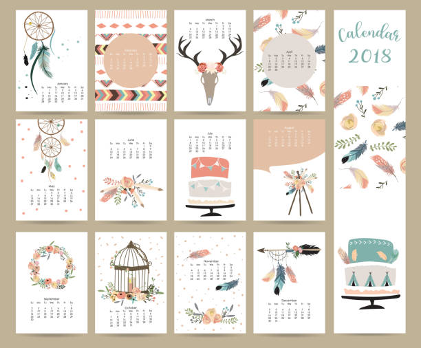 colorful cute monthly calendar 2018 with wild,fox,bear,skunk,leaf,stump,flower,penguin and porcupine.can be used for web,banner,poster,label and printable - date night stock illustrations
