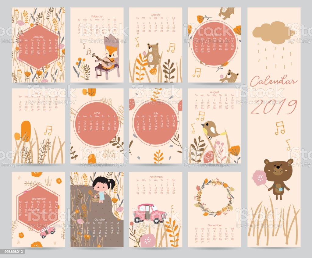 Colorful cute monthly calendar 2018 with bear,car,girl,leaf,flower,wreath.Can be used for web,banner,poster,label and printable vector art illustration