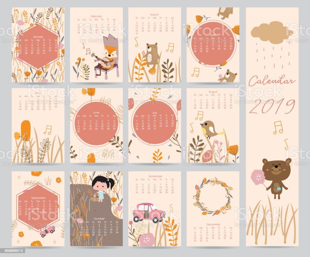 Bunte süße Monatskalender 2018 mit Bär, Auto, Mädchen, Blatt, Blume, Kranz. Kann zum ausdrucken und für Web, Banner, Poster, Aufkleber verwendet werden – Vektorgrafik