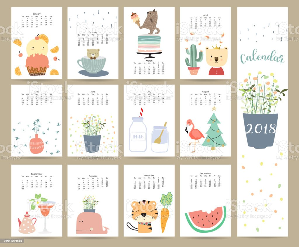 Colorful cute monthly calendar 2018 with bear,ice cream,cuctus,flamingo,flower,Christmas tree,cake,tiger,carrot and porcupine.Can be used for web,banner,poster,label and printable vector art illustration