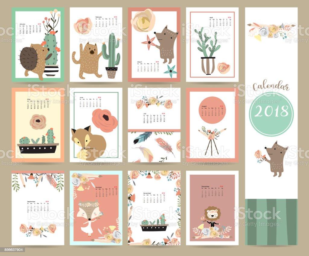 Bunte Süße Monatskalender 2018 mit Fuchs, Bär, Kaktus, Kranz, Blume und Stachelschwein. Kann zum ausdrucken und für Web, Banner, Poster, Aufkleber verwendet werden – Vektorgrafik