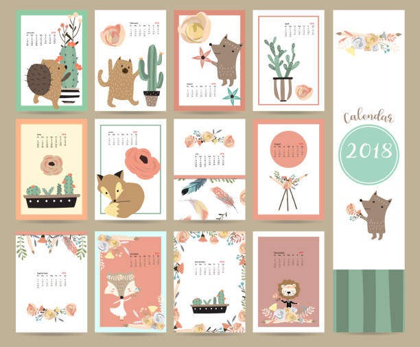 colorful cute monthly calendar 2018 with fox,bear,cactus,wreath,flower and porcupine.can be used for web,banner,poster,label and printable - animals calendar stock illustrations, clip art, cartoons, & icons