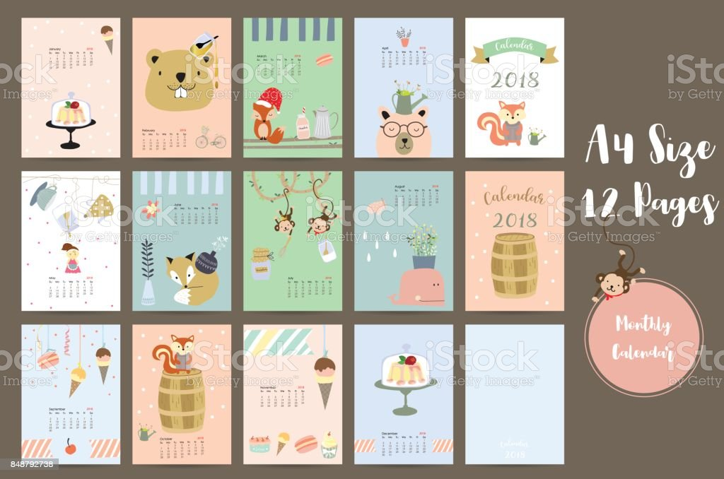 Colorful cute monthly calendar 2018 with whale,tree,monkey,cake,fox,girl and squirrel.Can be used for web,banner,poster,label and printable vector art illustration