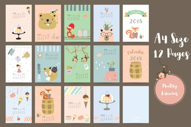 colorful cute monthly calendar 2018 with whale,tree,monkey,cake,fox,girl and squirrel.can be used for web,banner,poster,label and printable - animals calendar stock illustrations, clip art, cartoons, & icons