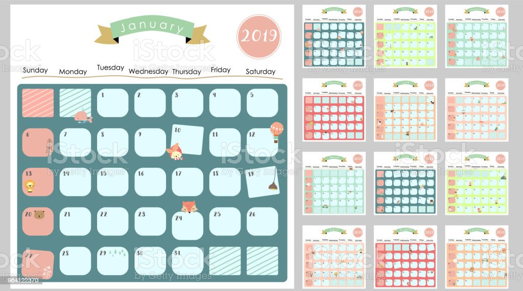 Colorful Cute Monthly Calendar 2019 With Lionfoxcatbearballooncan Be