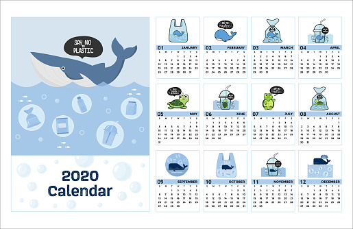 Colorful cute monthly calendar 2020 with whale say no plastic cartoon.