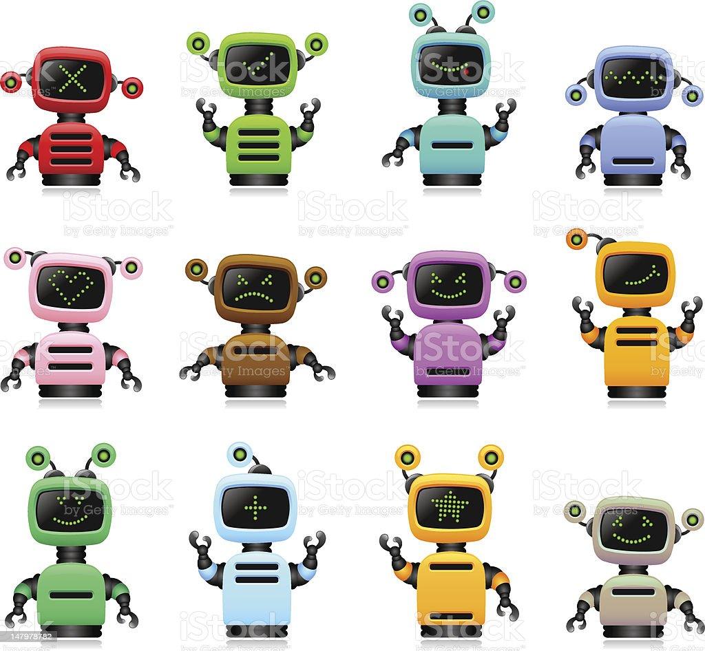 colorful cute robots set royalty-free stock vector art