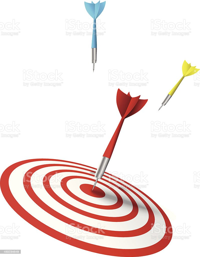 colorful darts hitting a target royalty-free stock vector art
