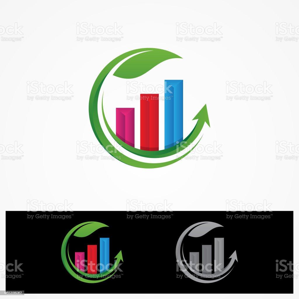 Outils de données colorées financent diagramme et graphique sur la feuille ronde - clipart vectoriel de Abstrait libre de droits