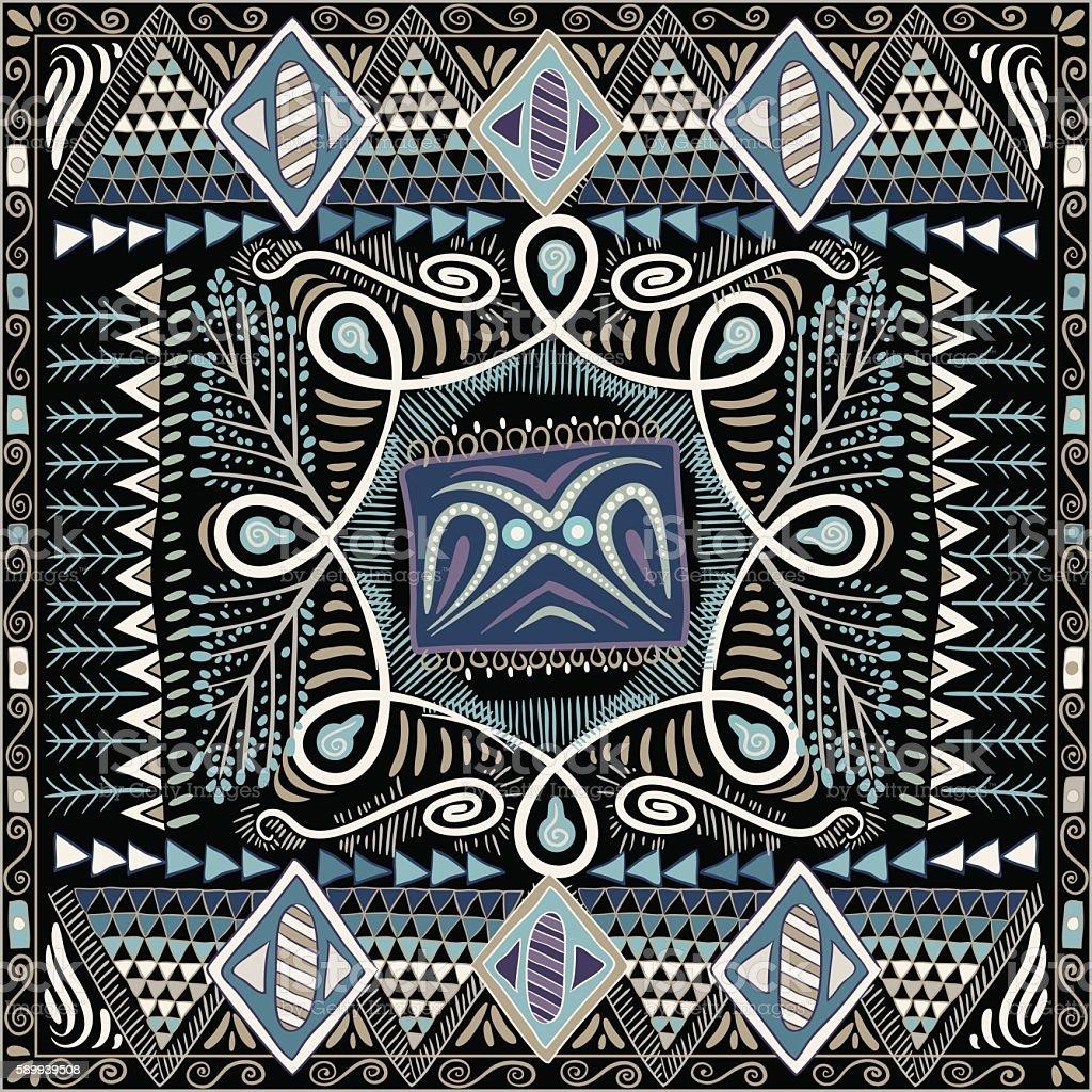 Colorful decorative pattern for shawl, bandana. Ethnic background vector art illustration