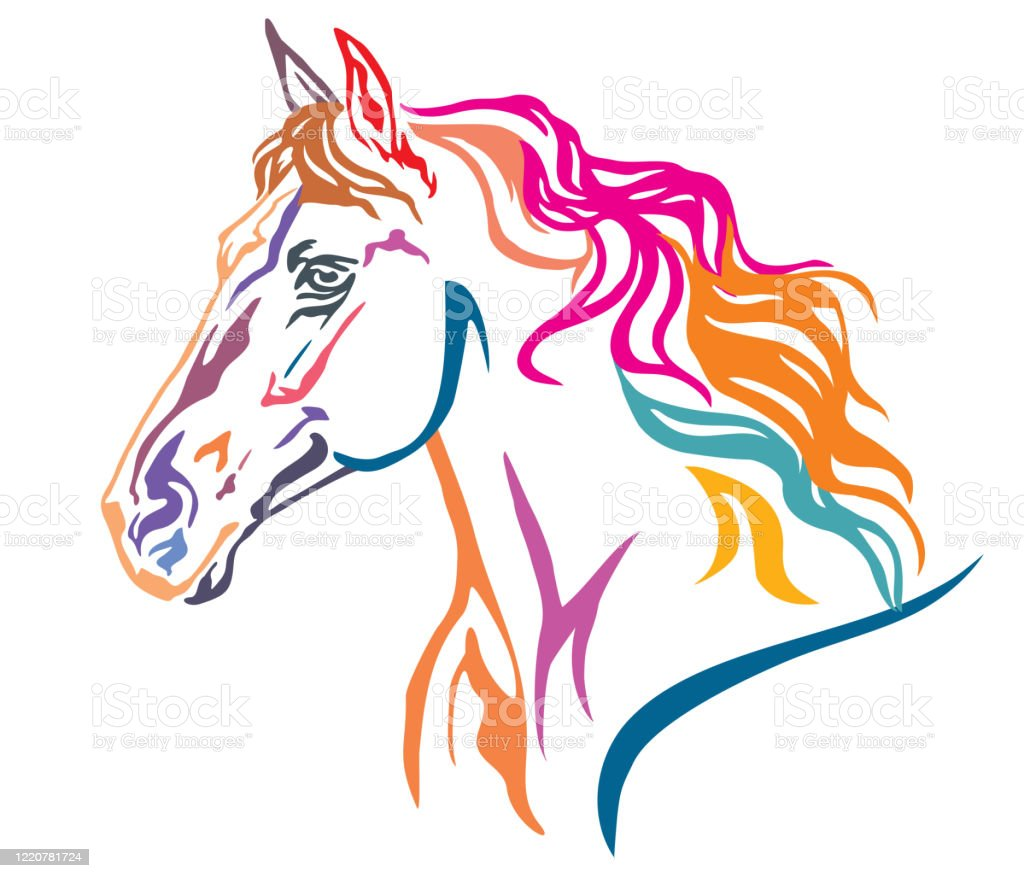 Colorful Decorative Portrait Of Horse Vector Illustration 7 Stock Illustration Download Image Now Istock