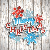 Colorful decorative text Merry Christmas on white wooden background, illustration
