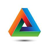 Colorful delta letter 3D impossible sign for symbol template vector illustration