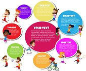 Colorful design for advertising brochure with different sports activities. Vector