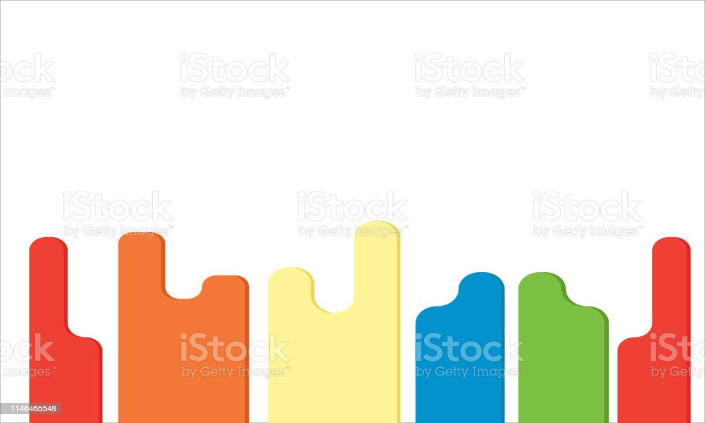 Colorful Design In Row In White Background Minimal Wallpaper