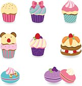 Cute pastel color desserts, cupcake, macaroon, layer cake, with fruit and ribbon decorations. puffy edge style