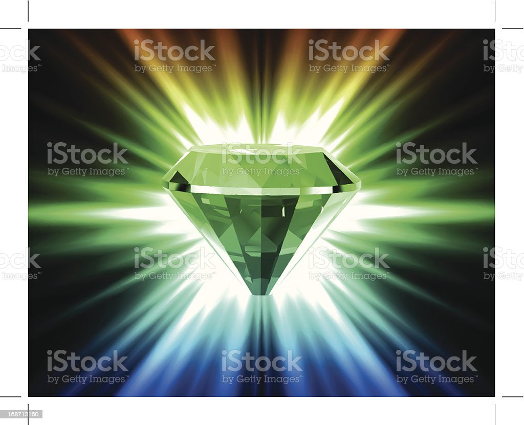 Colorful diamond on bright background. Vector royalty-free stock vector art