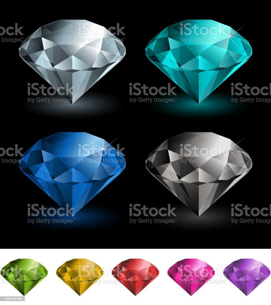 Colorful diamonds set vector art illustration