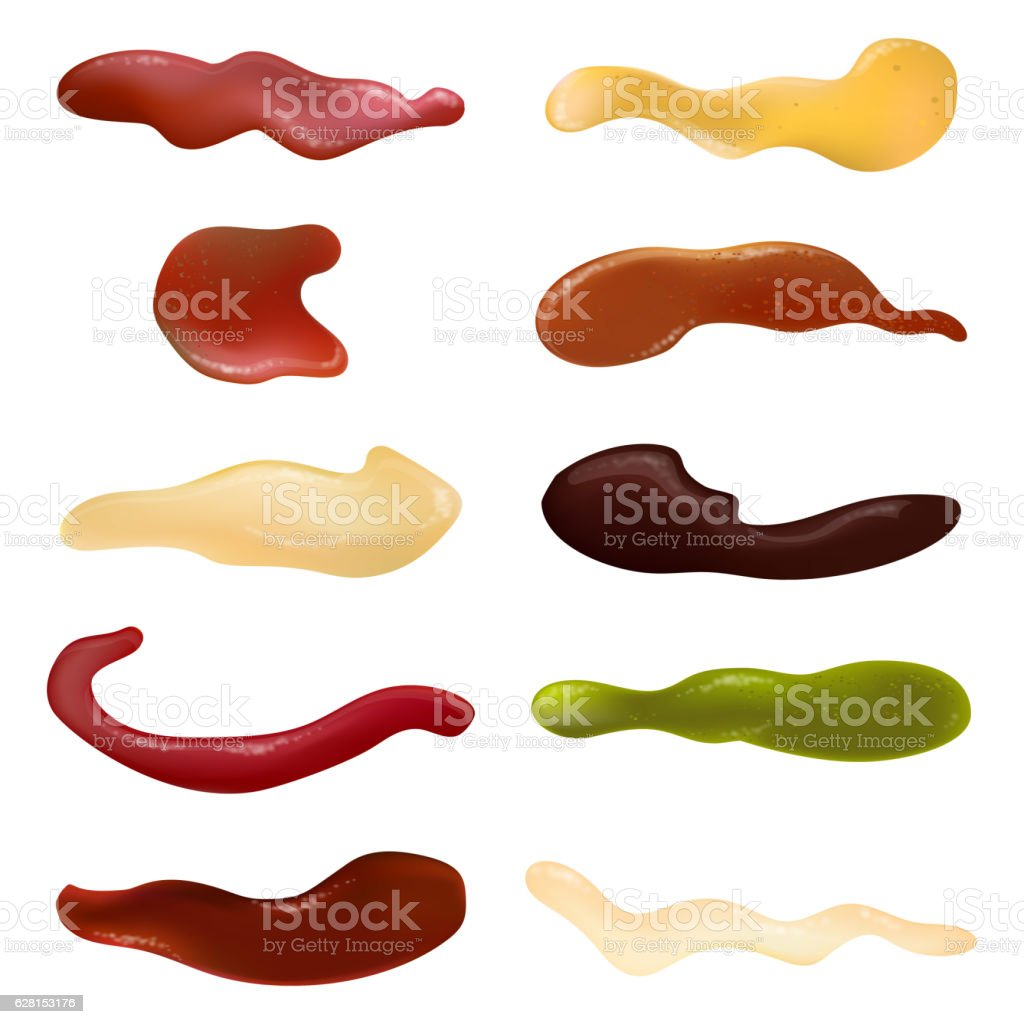 Colorful different sauce set icons. Vector illustration vector art illustration