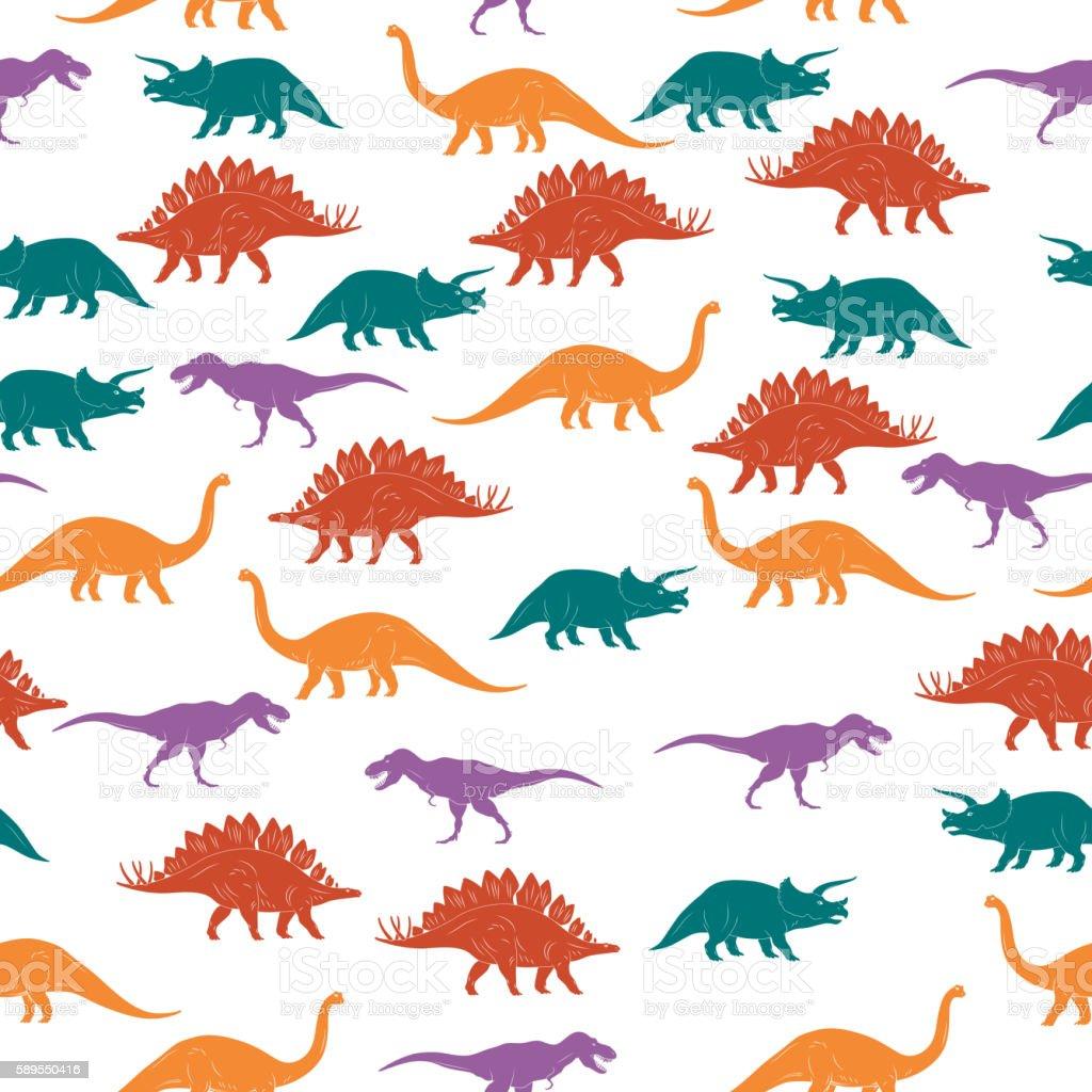 Colorful Dinosaurus Seamles Pattern Background. Vector vector art illustration