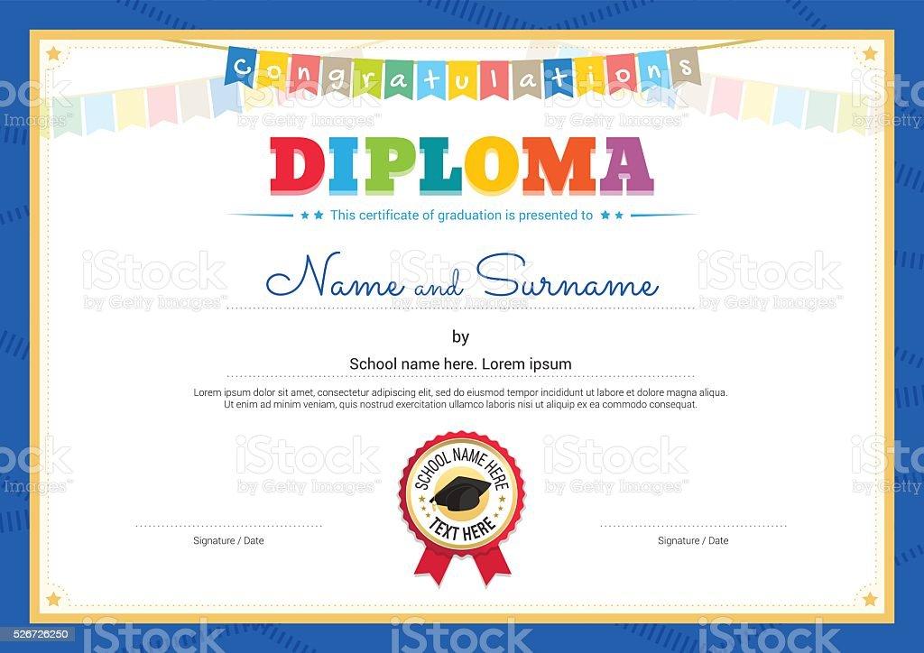 Ilustración de Colorido Diploma Certificado Plantilla Para Niños En ...