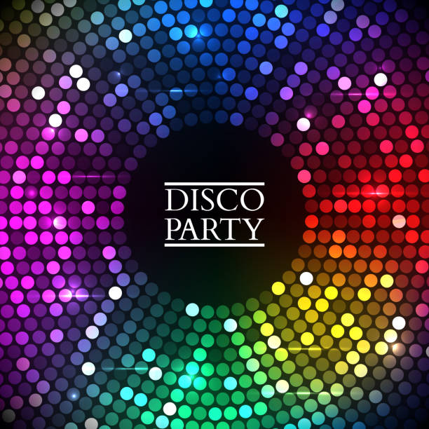 colorful disco lights. vector - rainbow glitter background stock illustrations