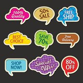 Collection of vector retro colorful fabric speech bubbles with discounts, on dark background. Image contains transparency in lights and shadows - you can put it on every surface. 10 EPS.