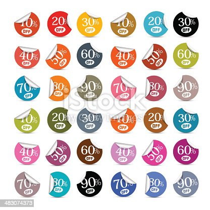Colorful Discount Stickers, Labels Illustration Set Isolated on White Background