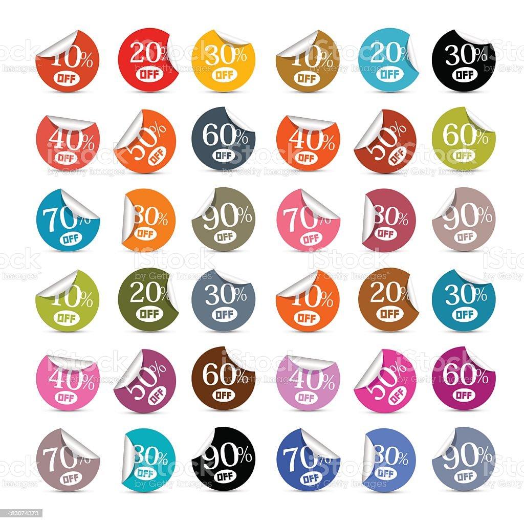 Colorful Discount Stickers, Labels Illustration Set vector art illustration