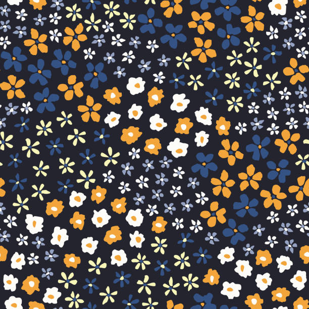 Colorful Ditsy Allover Graphic Daisies Blooms on Black Background Vector Seamless Pattern Colorful Artistic Ditsy Allover Graphic Floral Vector Seamless Pattern. Simplistic Small Hand Drawn Daisies, Scattered Abstract Blooms on Black Background. Minimal Stylized Flowers Print. low scale magnification stock illustrations