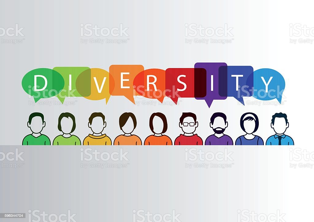 Colorful diversity background with group of people and text Lizenzfreies colorful diversity background with group of people and text stock vektor art und mehr bilder von abstrakt