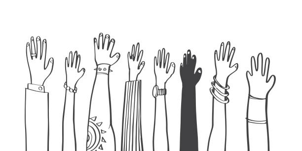Colorful diversity people raised hands. illustrator vector flat design. Colorful diversity people raised hands. illustrator vector flat design. democracy stock illustrations