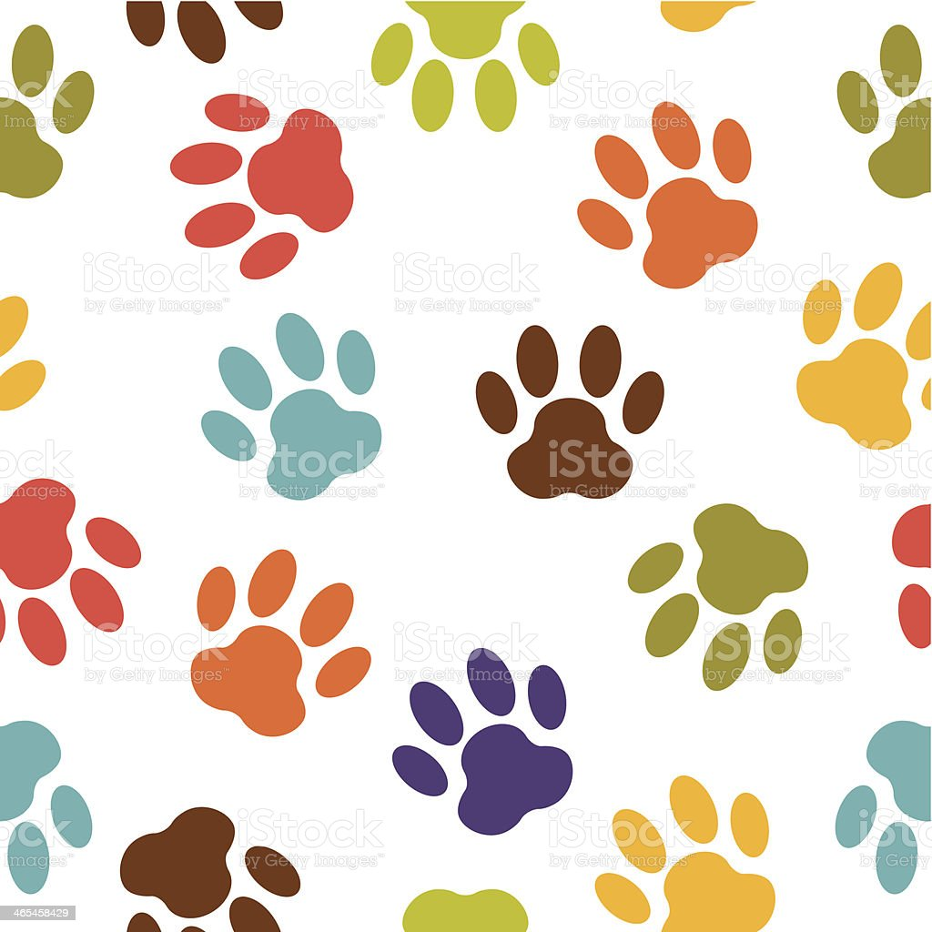Colorful dog paw print vector pattern vector art illustration