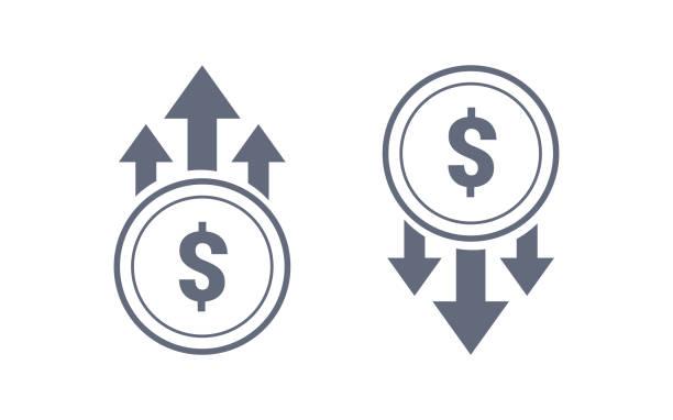 illustrations, cliparts, dessins animés et icônes de dollar coloré haut et bas icône de signe. modèle d'illustration graphique vectorielle. isolé sur fond blanc. - inflation