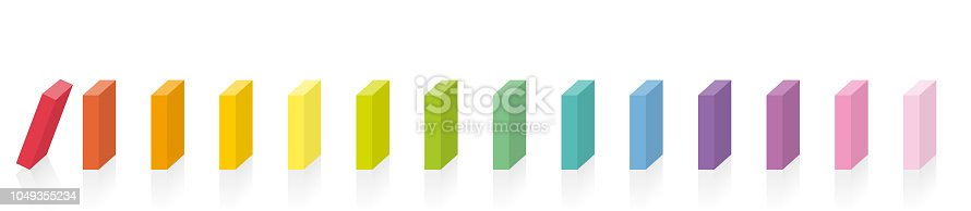 Colorful dominoes. Rainbow colored chain reaction. The first red one starts, the other dominoes are still standing. Isolated vector illustration on white background.