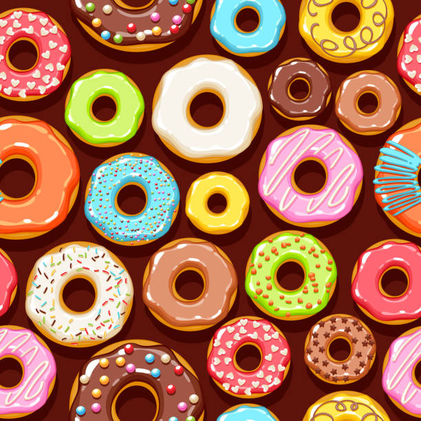 Colorful donuts icons background. Sweet bakery vector Colorful glazed donuts icons seamless background. Sweet bakery vector with decorations - top view. decorating a cake stock illustrations