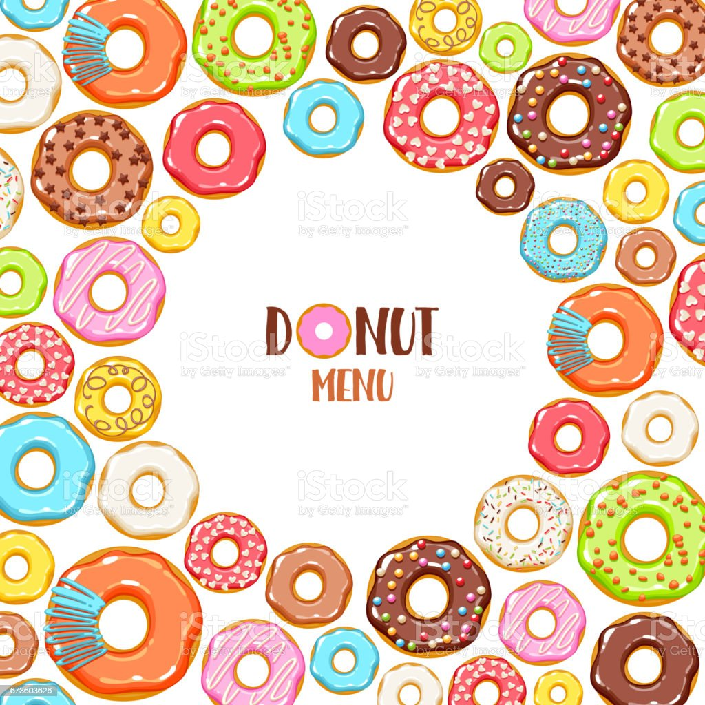 Colorful Donuts Icons Background Sweet Bakery Vector Stock