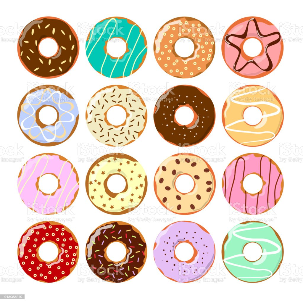 Colorful Donuts Set Stock Vector Art & More Images of ...