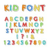 Colorful doodle alphabet. Kids handwritten doodles font or childlike pencil scratch letters and numbers vector illustration