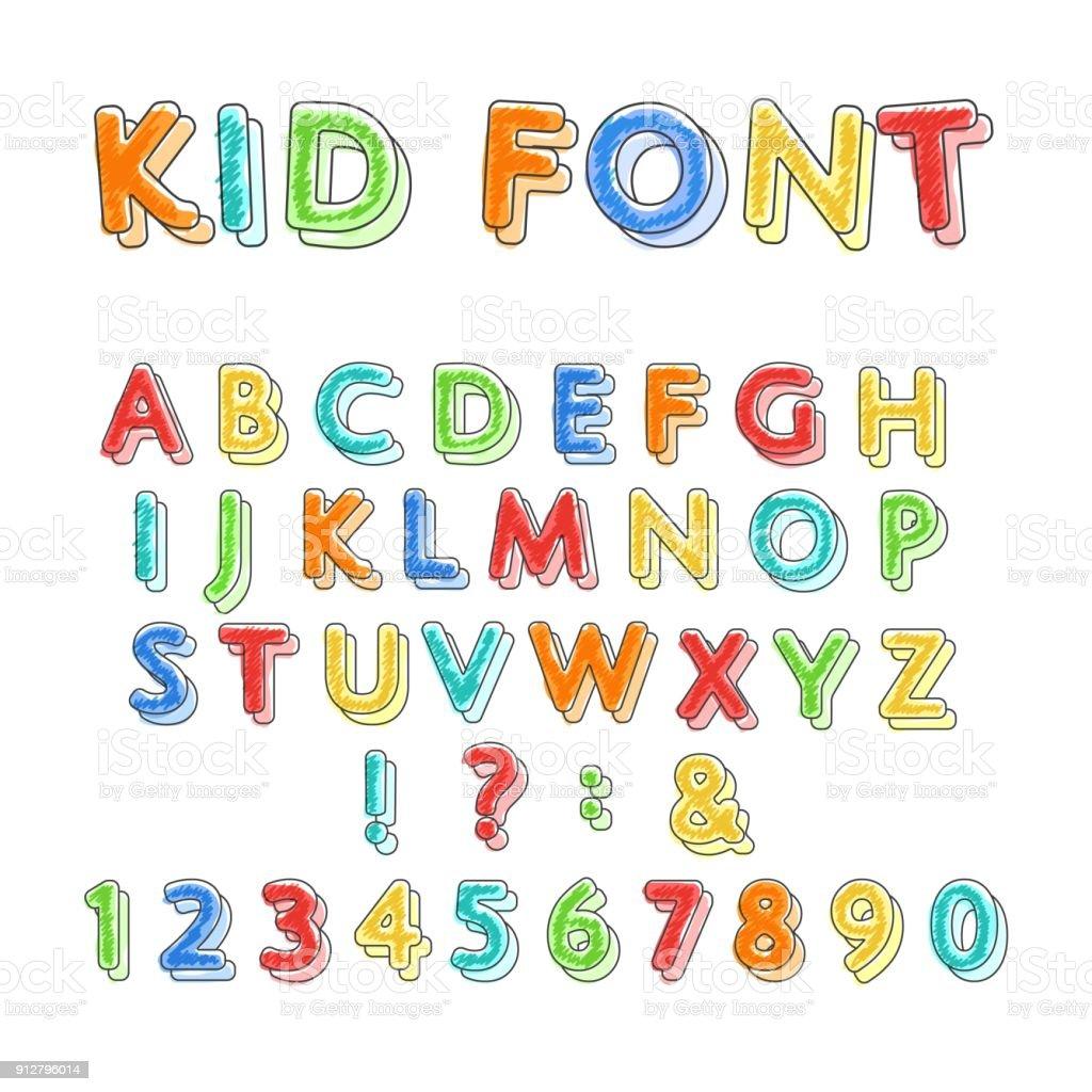 Alphabet de doodle coloré - Illustration vectorielle