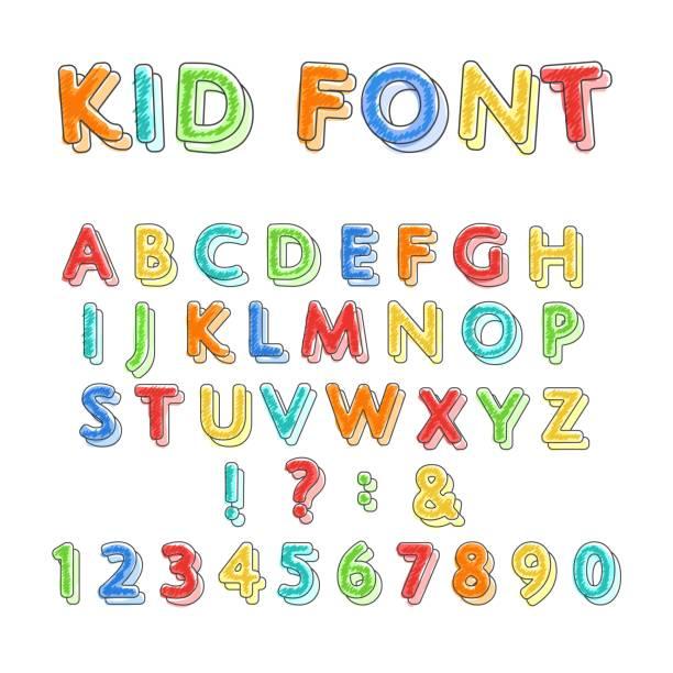 カラフルな落書きのアルファベット - 作文の授業点のイラスト素材/クリップアート素材/マンガ素材/アイコン素材