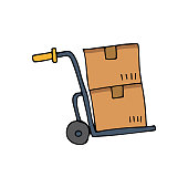 istock Colorful doodle handcart illustration in vector. Colorful flat handcart illustration in vector. Illustration of handcart. Logistic icon in vector 1295851286